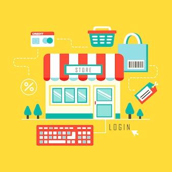 Концепция интернет-покупок в стиле