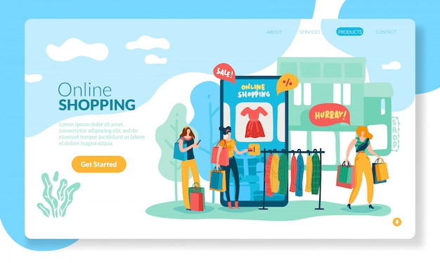Online shopping concept. internet retail purchase smartphone website shop app customer on-line payment technology page