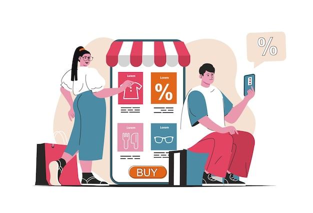고립 된 온라인 쇼핑 개념입니다. 모바일 앱에서 할인된 가격으로 구매하세요. 평면 만화 디자인의 사람들 장면. 블로깅, 웹 사이트, 모바일 앱, 판촉 자료에 대한 벡터 일러스트 레이 션.