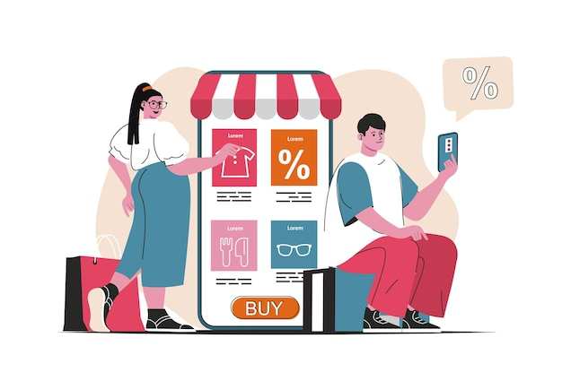 Online shopping concept isolated. purchases in mobile app at discounted prices. people scene in flat cartoon design. vector illustration for blogging, website, mobile app, promotional materials.