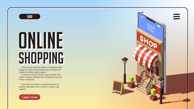 Интернет-магазин концепции. изометрическая концепция маркетинга или цифрового маркетинга.