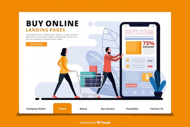 Online shopping concept for landing page