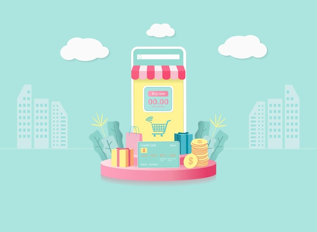 Online shopping concept . mobile phone with store, gifts, shopping items, credit cardson round podium. sky background