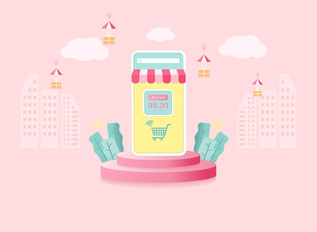 Online shopping concept . mobile phone with store set on round podium. online delivery background
