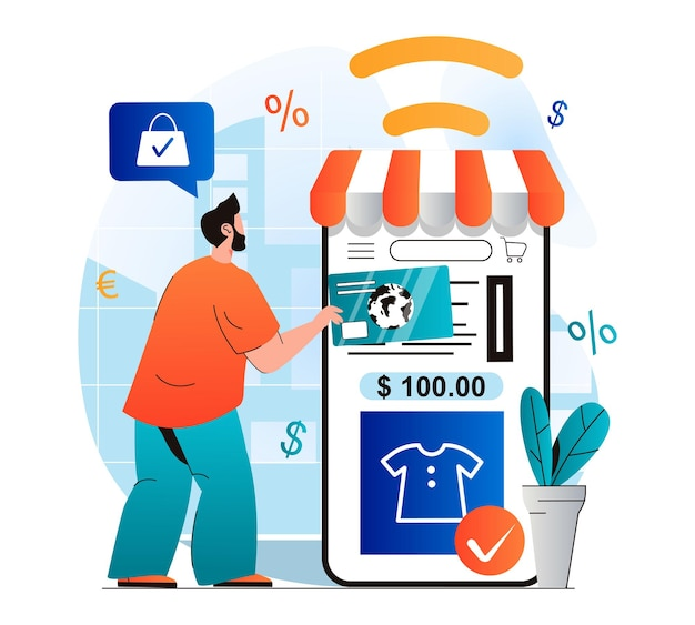 Online shopping concept in modern flat design man pays check for purchases in mobile application
