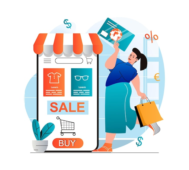 Online shopping concept in modern flat design woman buying and paying for goods in mobile