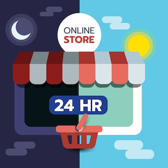 Концепция интернет-магазина на экране планшета, открыт 24 часа, электронная коммерция.