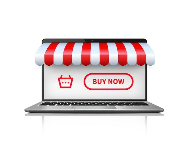 온라인 쇼핑 개념. 노트북 구매 및 온라인 쇼핑을 엽니 다.