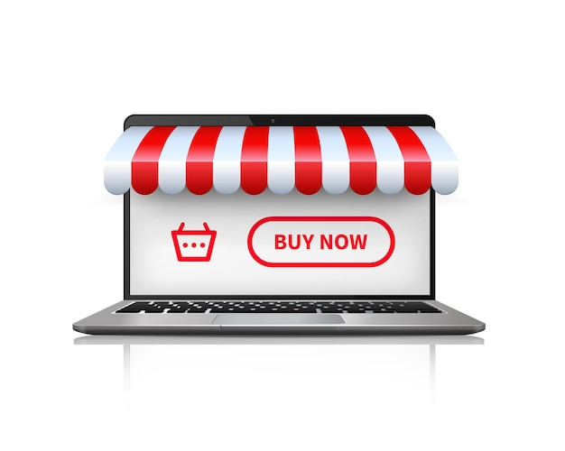 Online shopping concept. open laptop buying and shopping online.