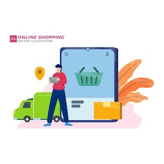 Концепция интернет-магазинов, люди, покупающие продукты в интернет-магазине с плоским векторная иллюстрация