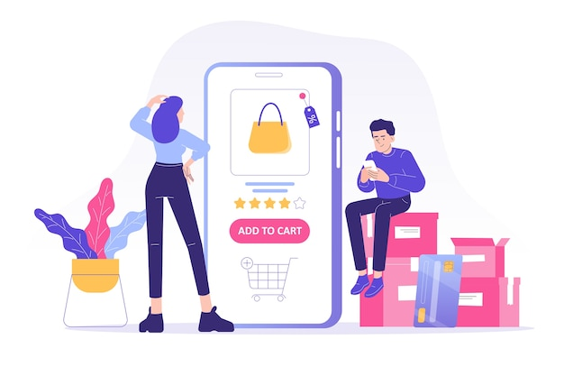 Online shopping concept people sitting on boxes ordering with smartphone app