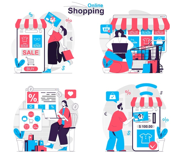 Online shopping concept set buyers choose products buy at sales receive orders