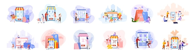 Online shopping concept set. e-commerce, customer on the sale. app on mobile phone and computer.   illustration in  style