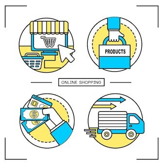 オンラインショッピングのコンセプト:ラインスタイルのショッピングプロセス