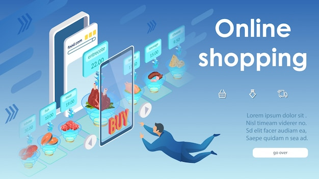 Online shopping concept small clicks on smartphone