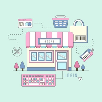 Online shopping concept in   style