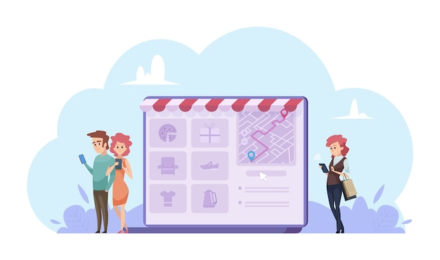 Online shopping concept. vector cartoon people with gadgets. online store illustration. online shopping store, website shop