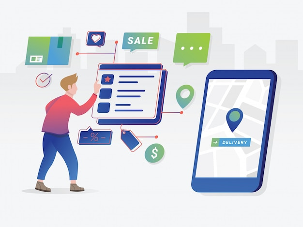 Online shopping concept with character