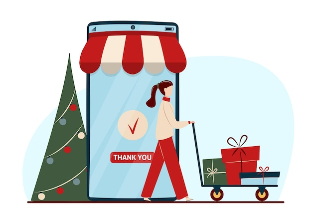 Online shopping concept with characters. mobile phone, decorated christmas tree and woman with gift boxes.