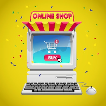 Online shopping concept with computer image