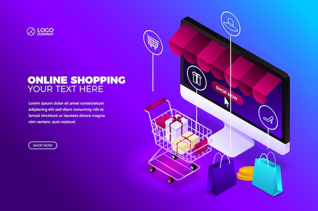 Online shopping concept with computer