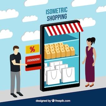 Концепция интернет-магазина с плоской конструкцией