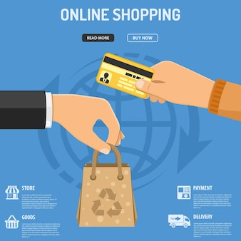 Online shopping concept with flat icons hand with paper bag and hand with credit card. isolated vector illustration