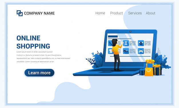 Online shopping concept with giant mobile displaying store products and woman characters.