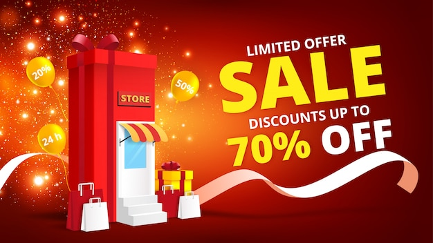 Online shopping concept with gift box store online.digital marketing and sale banner background.