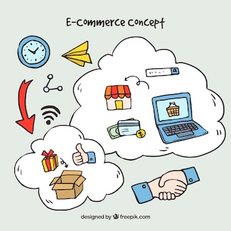 Концепция интернет-шоппинга с рисованной системой
