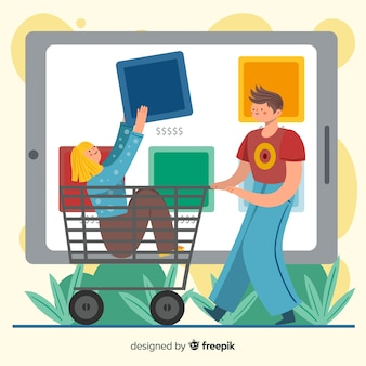 Online shopping concept with illustration