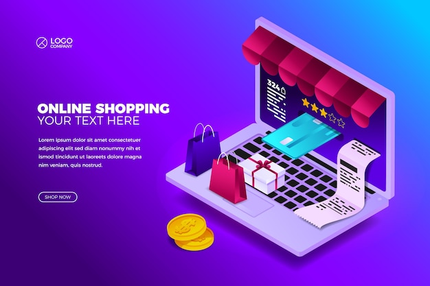 Online shopping concept with laptop
