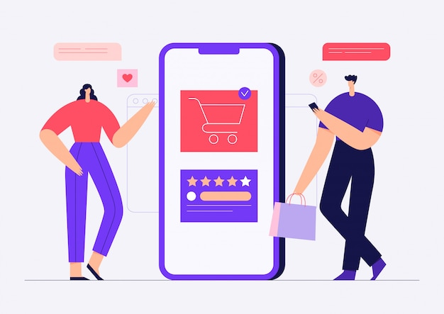 Online shopping concept with male and female modern characters. man and woman buying goods in mobile application, ecommerce. flat   illustration.