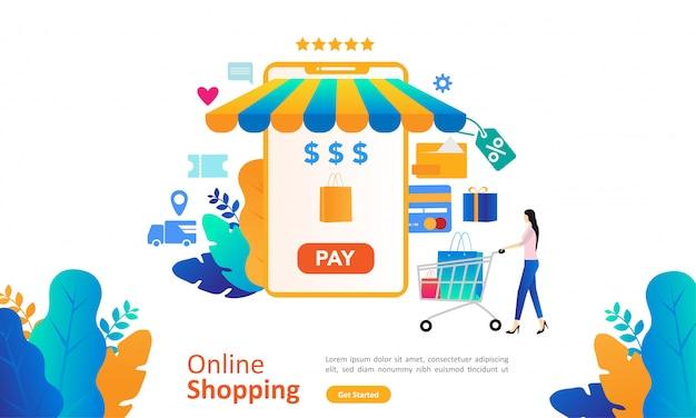 웹 방문 페이지에 사람들이 문자로 온라인 쇼핑 개념