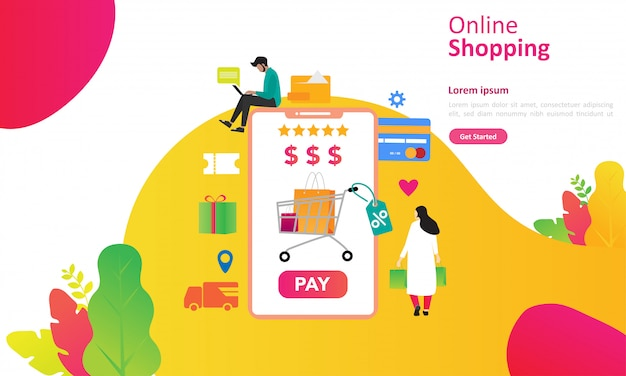 Online shopping concept with people character for web landing page