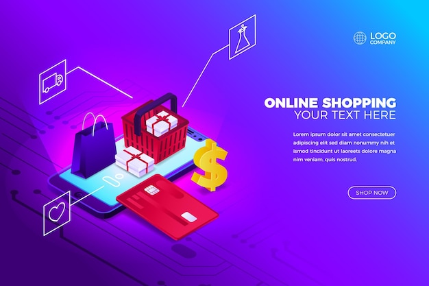 Online shopping concept with phone