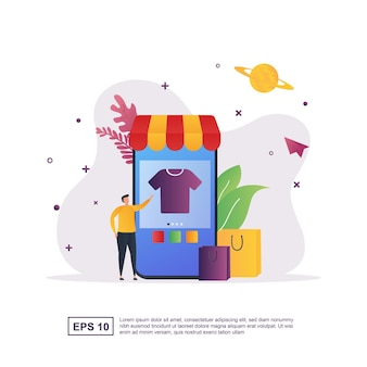 Online shopping concept with shopping using smartphone and shopping bag.