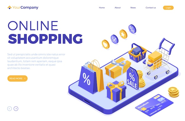 Online shopping concept with smartphone bag basket cart isometric vector