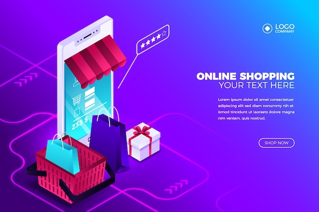 Online shopping concept with smartphone