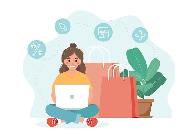 노트북을 들고 여자와 온라인 쇼핑 개념입니다. 주형
