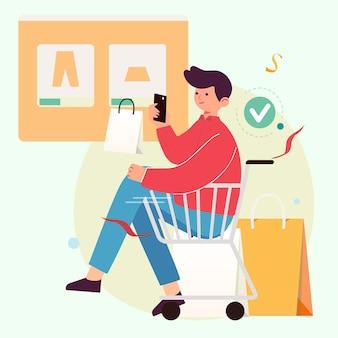 オンラインショッピングのコンセプト。スマートフォンを介してオンラインで買い物をする若い男