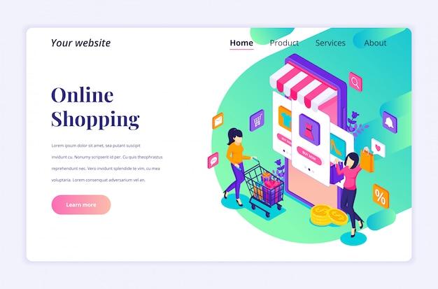 オンラインショッピングのコンセプト、モバイルアプリケーションストアで商品を購入する若い女性。ランディングページテンプレートのモダンなフラット等尺性