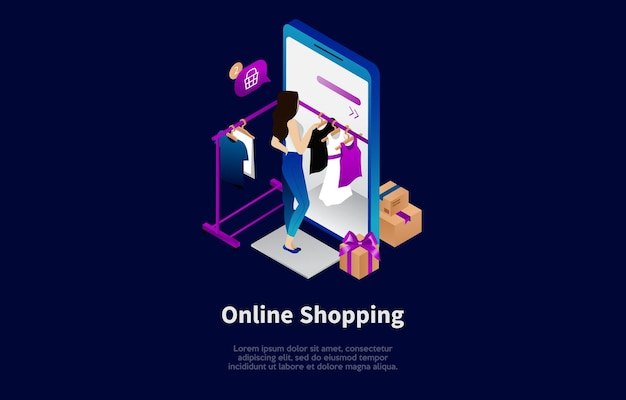 Online shopping conceptual illustration in cartoon 3d style