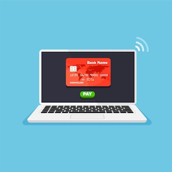 Online shopping credit card on a laptop display stay home concept