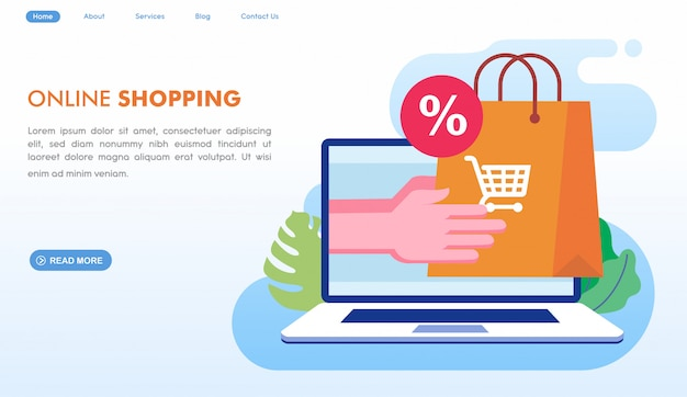 Online shopping delivery landing page in flat style