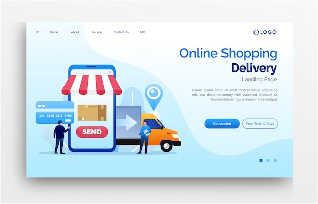 Online shopping delivery landing page website template banner