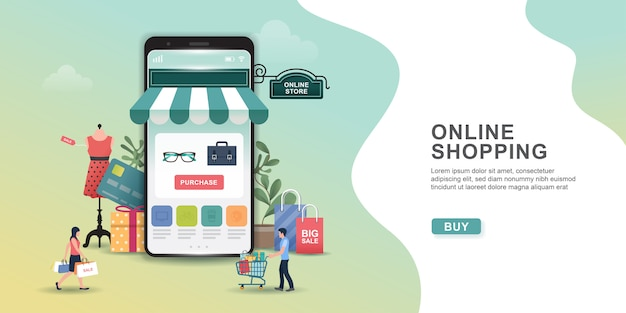Online shopping design concept with people and mobile. online shopping app: gifts, shopping items, credit cards.