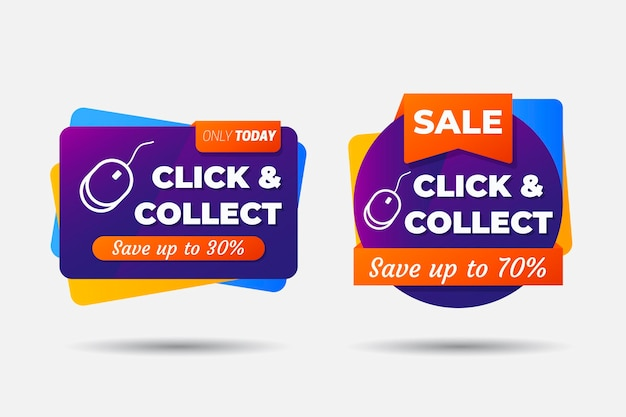 Online shopping detailed click and collect sign
