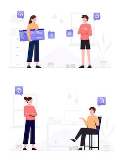 オンラインショッピング、デジタルマーケティング、チームワーク、ビジネス戦略、分析。現代のベクトル図
