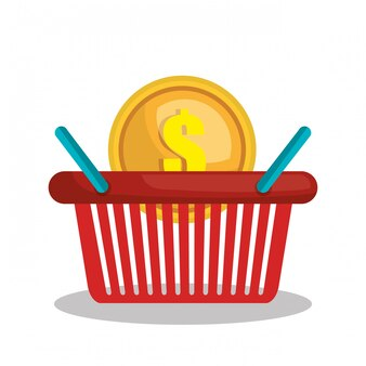 Online shopping e-commerce basket isolated
